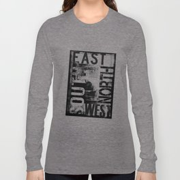East South North West Black White Grunge Typography Long Sleeve T-shirt
