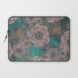 Peony Flowers Peach and Green Laptop Sleeve