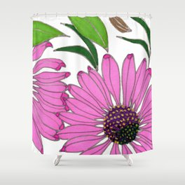 Echinacea by Mali Vargas Shower Curtain