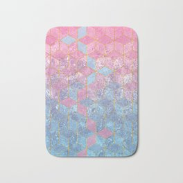 Pink and Blue Gradient Cube Pattern Bath Mat