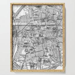Vintage Map of Bruges (1905) BW Serving Tray