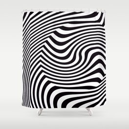 Black and White Pop Art Optical Illusion Shower Curtain