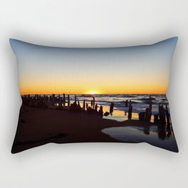 Wharf Beach Sunset Rectangular Pillow