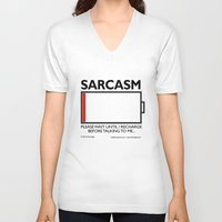 sarcasm V-neck T-shirts featuring sarcasm recharge by squirrelosophy