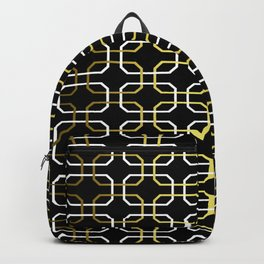 Black White and Gold Octagonal interlocking shapes Backpack