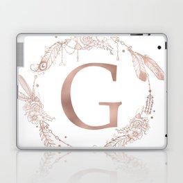Letter G Rose Gold Pink Initial Monogram Laptop & iPad Skin