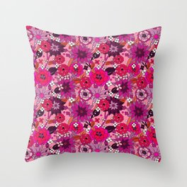Flower Power pink Throw Pillow