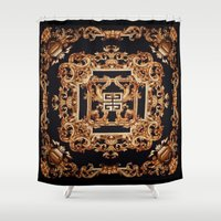 givenchy Shower Curtains featuring Fancy Givenchy by Goldflakes
