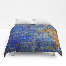 Boston Massachusetts 1893 colorful vintage old map. Orange and blue artwork Comforters