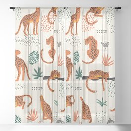 Seamless pattern with leopards Sheer Curtain