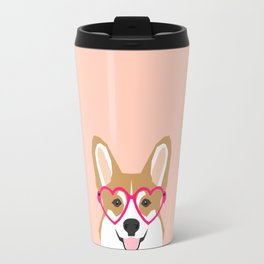 Corgi Love - Valentines heart shaped glasses on funny dog for dog lovers pet gifts customizable dog  Travel Mug