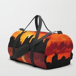 skyline new york city sunset dusk Duffle Bag