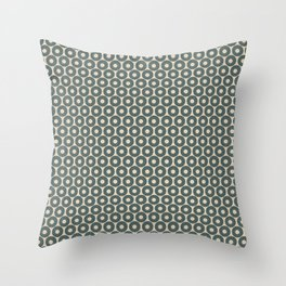 Circle Polka Dot Pattern 4, Night Watch, Cave Pearl Green Alpaca Wool Cream and Scarborough Green Throw Pillow
