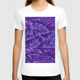 Purple Tropical Layered Leaves T-shirt