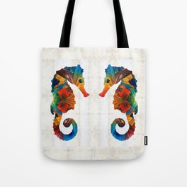 Colorful Seahorse Art by Sharon Cummings Tote Bag