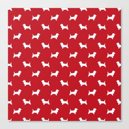 Cairn Terrier dog breed red and white dog pattern pet dog lover minimal Canvas Print