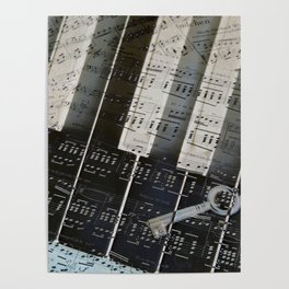 Piano Keys black and white - music notes Poster