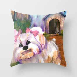when the haunted house is the doghouse Throw Pillow