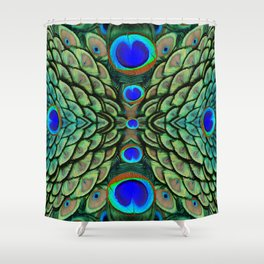 Green-Blue Peacock Feathers Art Patterns Shower Curtain