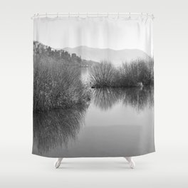 Lakescape in bw Shower Curtain