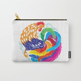 Ornamental colorful rooster in the form of a circle. Carry-All Pouch