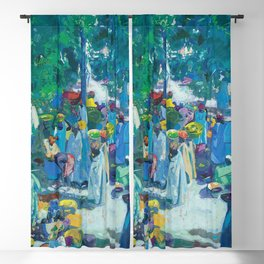 African American Masterpiece, Sudan, African Marketplace portrait painting by Jacques Majorelle Blackout Curtain