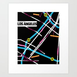 Downtown Los Angeles Map Art Print