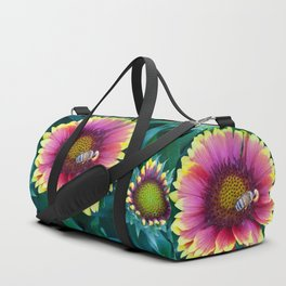 Bee working in a red Sunflower Duffle Bag