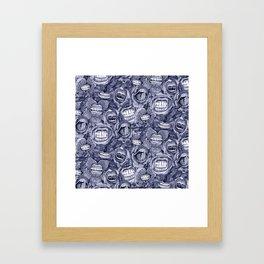 BITE ME roses and orchids INDIGO Framed Art Print