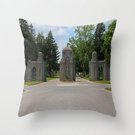 Calvary Cemetery Gate I Throw Pillow