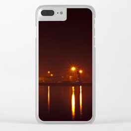 Seaport in Viana do Castelo at night Clear iPhone Case