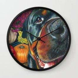 black Rottweiler dog and HarvestPumpkin Color Pencil art print Wall Clock