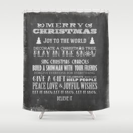 Christmas Chalk Board Typography Text Shower Curtain