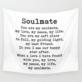You Are My Soulmate Romantic Quote Wall Tapestry