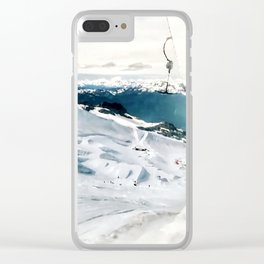Snowy life on slope under T-bar lifts Clear iPhone Case