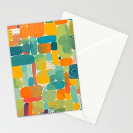 Funny color block abstract shape painting illustration pattern Stationery Cards