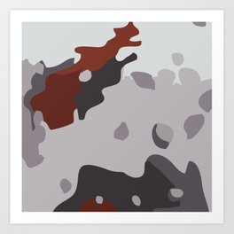 Abstract large camouflage art. Black, grey and maroon. Art Print