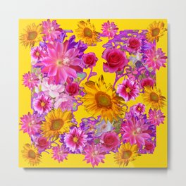 GOLDEN FLORAL TAPESTRY OF ASSORTED PINK  FLOWERS Metal Print