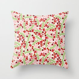Lovely Ladybugs and Berries Throw Pillow