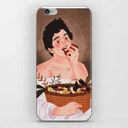 boy with the basket of fruit iPhone Skin