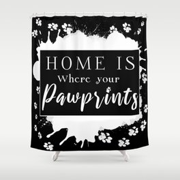 Pawprints - Black Shower Curtain