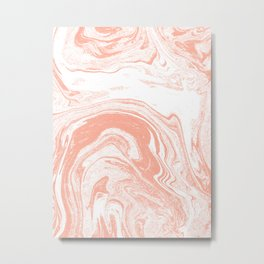 Marble coral pastel 3 Suminagashi watercolor pattern art pisces water wave ocean minimal design Metal Print