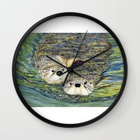otters Wall Clocks featuring Pair of Otters by Sandra Dean Wilson