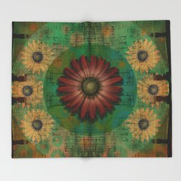 """Daisy Woman (Red Daisy, pattern)"" Throw Blanket"