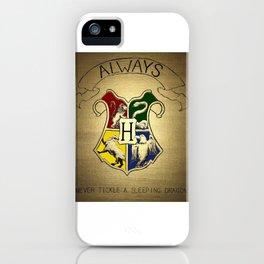 Always - Hogwarts emblem containing Sytherin, Gryffindor, Ravenclaw and Hufflepuff house animals iPhone Case