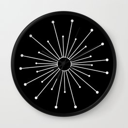 Mid Century Modern Simple Sputnik Starburst Black/White Wall Clock