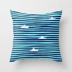 Origaboat blue Throw Pillow