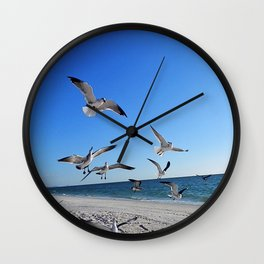 Seagulls Feeding Wall Clock
