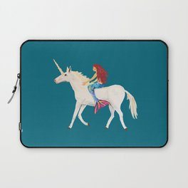 Red Haired Mermaid Rides the Unicorn Laptop Sleeve