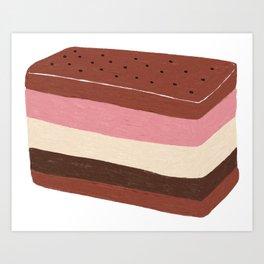 Neapolitan Ice Cream Sandwich Art Print